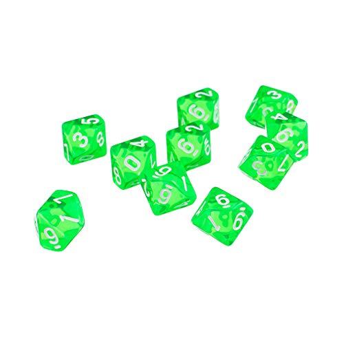 Yourandoll 10 STÜCKE Polyedrische Würfel D10 (0-9) Dice Würfel Spielwürfel for DND RPG Dungeons & Dragons Brettspiel Kartenspiel (Grün)