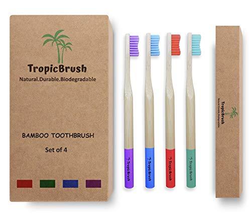Cepillos de dientes de bambú Premium | Cepillo de dientes biodegradable y ecológico | Set de 4 para adultos y niños | Sin plástico con mango de madera natural | Cerdas blandas medianas | TropicBrush