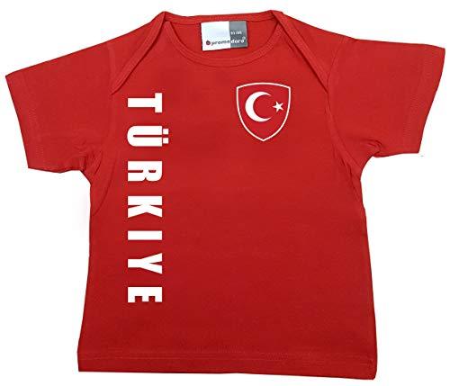 aprom T-shirt pour bébé Motif Turquie Coupe du monde championnat d'Europe n° 1 R TR - Rouge - 80/86 cm