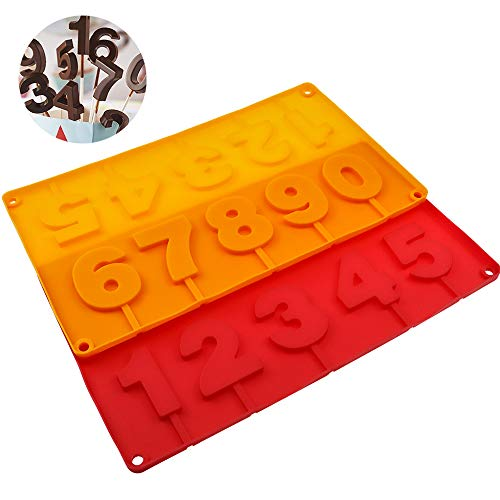 WYBG 2Pcs Number Silicone Molds, Number 0 to 9 Silicone Molds for Cake, Candy, Pudding, Fondant, 3D Number Mold for baking, 9 Holes (Orange&Red)