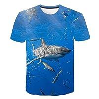 半袖,Tシャツ、ファッション3Dプリントノベルティクリエイティブ海の動物サメグラフィックTシャツ半袖夏プリントカジュアル速乾性Tシャツトップス、L