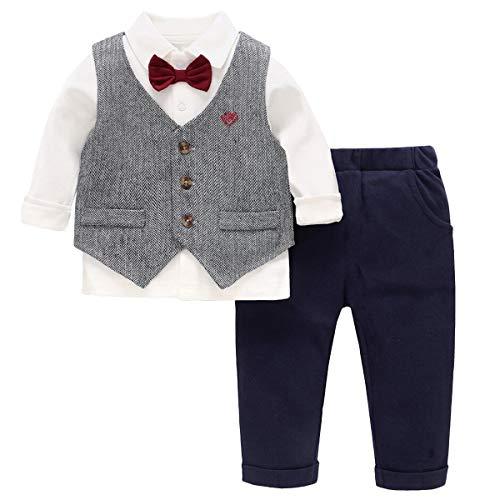 Famuka Baby Anzüge Baby Junge Taufanzug Hochzeit Partei Babybekleidung Set (Grau, 80)