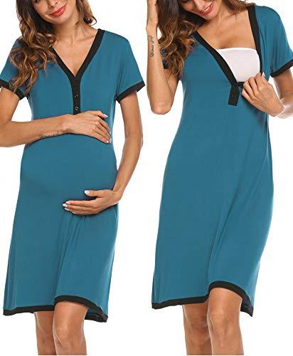 Ekouaer Women's Maternity Dress Button Down Short Sleeve Nursing Nightgown for Breastfeeding Sleepshirts Teal
