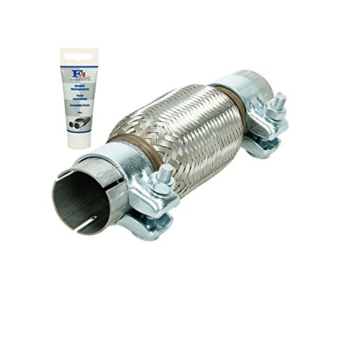 ECD Germany Universal Flexrohr - 45 x 150 mm - mit 2 Schellen - aus Edelstahl - Interlock - Montage ohne Schweißen + Auspuff-Montagepaste 60g - flexibles Rohr - Flexstück Wellrohr Auspuff Abgasanlage