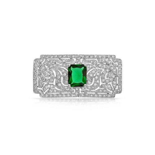 Bling Jewelry Art Deco Vintage-Stil Grün AAA CZ Rechteck Schal Broschen & Anstecknadeln Für Damen Simulierten Emerald Cut Messing