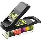 Multifuncional cortador de verduras Cortador de frutas Rallador Trituradoras de drenaje Cesto de drenaje Rebanadoras 8 en 1 Gadgets Accesorios de cocina (negro)