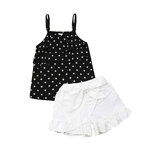 Toddler Baby Little Girls Summer Outfits Off Shoulder Striped Crop Top Bowknot Blouse+ White Ruffle Shorts Clothing Sets (Polka Dot-Black, 1-2 Years)