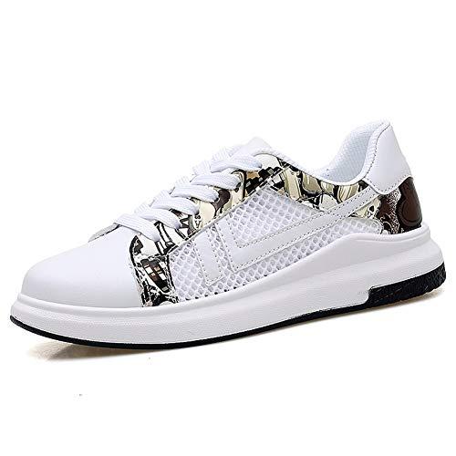 CAIFENG Zapatos atléticos for Hombres Zapatos Deportivos de Cordones de Encaje de Malla y microfiberato de Colores Puros Transpirable Hueco Redondo Puntero (Color : White Black, Size : Adult-36 EU)