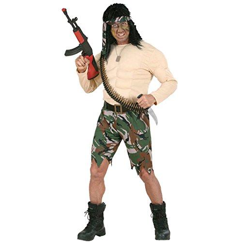 NET TOYS Muskelkostüm Rambo Kämpfer Muskel Kostüm Soldatenkostüm Soldat Fasching Karneval Gr L 50/52