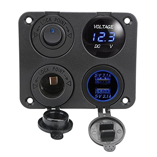POLKMN 12v 4 en 1 Cargador de Coche Dual USB Encendedor de Cigarrillos voltímetro de Cargador Encendido Apagado Cambio Ajuste para LA Marina DE ENVÍO RV Vehículos de camión automático de Camiones