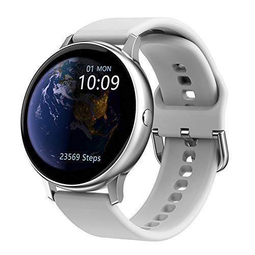 Reloj inteligente, monitor de actividad física con monitor de presión arterial de frecuencia cardíaca, reloj impermeable con monitor de sueño para mujeres y hombres, color blanco