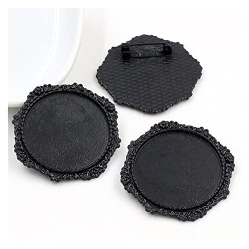 YSJJSQZ Base de cabujón 5 unids/Lote 30 mm Tamaño Interno Negro y Antiguo Plateado de Plata y Colores de Bronce Collado Broche Pin Style Style Cabochon Base Ajuste (Color : B5 30)