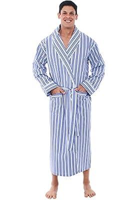Alexander Del Rossa Mens Lightweight Cotton Robe, 3XL Dark Blue and White Striped (A0715P193X) by Alexander Del Rossa