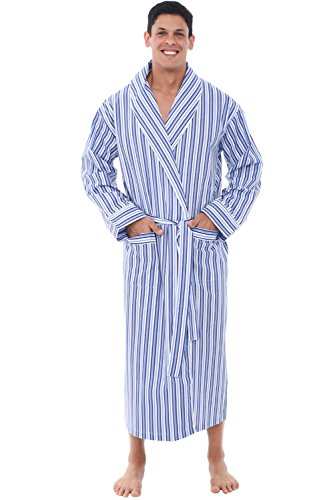 Alexander Del Rossa Mens Lightweight Cotton Robe, 2XL Dark Blue and White Striped (A0715P192X)