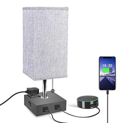 Bed-tafellampen, Alantis grijze vierkante stoffen kap met 2 USB-snellaadpoort, stijlvolle trekketting, tafellampen met 1 stopcontact Doordachte gift voor verjaardag