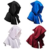 Medieval Hooded Cape Short Cloak Shawl 18th Century Wizard Death Costume Unisex Gothic Capelet Halloween Fancy Dress (Brown)