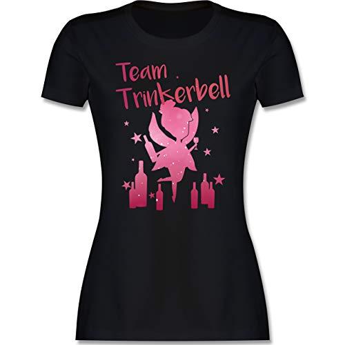 Karneval & Fasching - Team Trinkerbell mit Flaschen - L - Schwarz - Tshirt für Frauen mit Spruch - L191 - Tailliertes Tshirt für Damen und Frauen T-Shirt