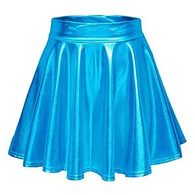 Urban CoCo Women's Shiny Flared Pleated Mini Skater Skirt (S, Lake Blue)