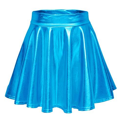 Urban CoCo Women's Shiny Flared Pleated Mini Skater Skirt (XL, Lake Blue)