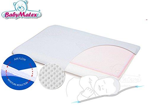 BabyMatex ** AEROSLIM Babykopfkissen inkl. Bezug ** Atmungsaktives MEMORY FOAM Kopfkissen ** AERO 3D Mesh System für eine perfekte Luftzirkulation