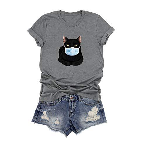 Best Buy! kaifongfu Women's Funny T Shirts Tops O-Neck Cartoon Cute Cat Printed Short SleeveT-Shirt ...