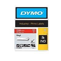 Dymo Rhino Vinyl Tape 12 mm White on Red