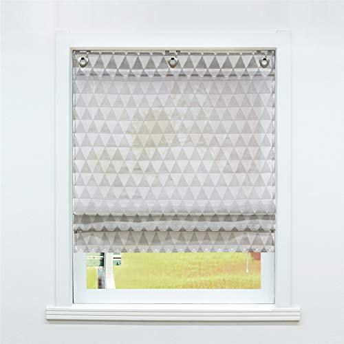 SCHOAL Raffrollo ohne Bohren Raffgardinen mit Ösen Gardinen Modern Ösenrollo Vorhänge Leinen Dreiecke Muster BxH 60x140cm 1 Stück Grau