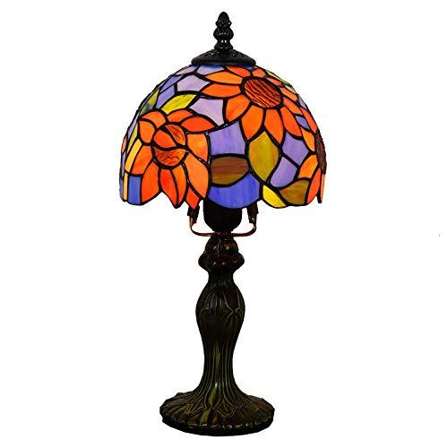 Tiffany Lampe Pastoral Blue Sun Flower Tischlampe Tiffany Glasmalerei Restaurant Schlafzimmer Nachttisch Kleine Tisch Schreibtischlampe