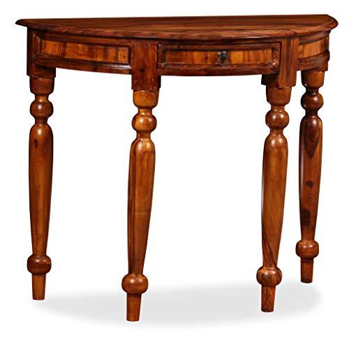 vidaXL Sheesham-Holz Massiv Konsolentisch Konsole Beistelltisch Sideboard Flurtisch Ablagetisch Frisiertisch Palisander 90x40x76cm Halbrund