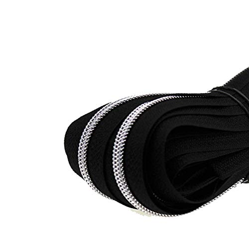 Zipp & Slide® 3 mm Endlosreißverschluss Verschiedene Längen inkl. Zipper 32 Farben zur Auswahl (5 Meter inkl. 10 Zipper, Schwarz mit Silber)