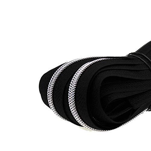 Zipp & Slide® 3 mm Endlosreißverschluss - Nickel Frei! - 5 Meter inkl. 10 Zipper, Schwarz mit Silber