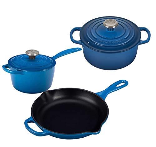 Le Creuset 5 Piece Enameled Cast-Iron SS Knob Condo Cookware Set - Marseille