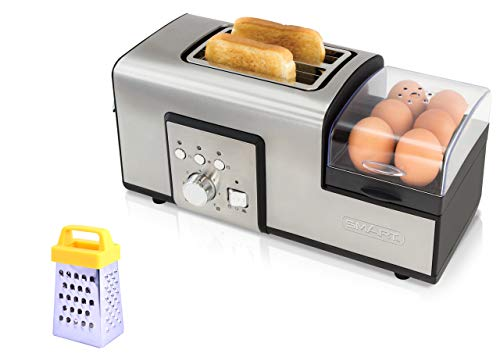 SMART Breakfast Master Toaster Bundle with Free Mini Grater ? Breakfast Maker and Sandwich Toaster ? Boil, Poach Or Fry Eggs While Preparing Your Toast SBM2000