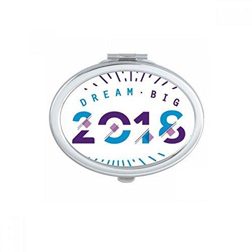 DIYthinker 2018 Année Dream Big Happy New Year Ovale Compact Maquillage Miroir Portable Mignon Miroirs de Poche à la Main Cadeau Multicolore