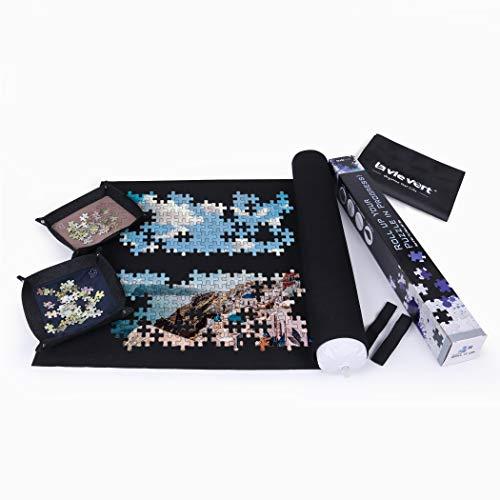 LAVIEVERT Puzzlematte für Puzzle Aufbewahrung, in Einer Langen Schachtel, für bis zu 1.500 Teile - Lieferung mit Aufbewahrungstasche und 4 Sortierschalen