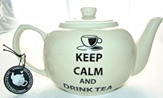 Keep Calm and Drink Tea For One Teapot (cream)