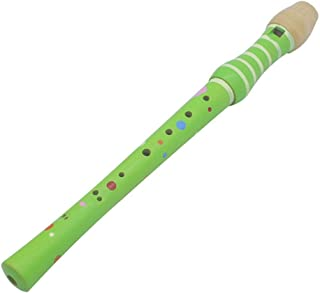Soprano Recorder,Hamkaw 8-Hole Wooden Descant Recorder Baroque Music Instrument Colorful Wood Piccolo Early Educational Toy for Kids Children Beginner - Green