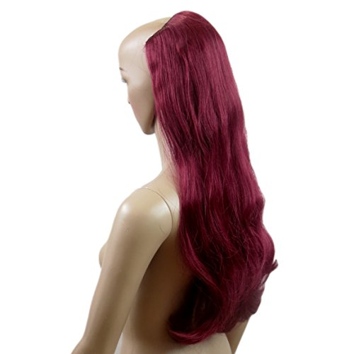 VANESSA GREY One Piece Clip In Hair Extensions Extension a Clip Cheveux Une Pièce Demi Perruque Postiche Extensions De Cheveux Rouge Rubis