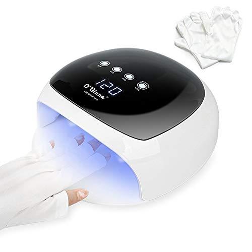 52W UV Lampe für Gelnägel, O'Vinna UV LED Nageltrockner mit Sensor, 30/60/90/120S Timer, LCD Display, Abnehmbarer Magnet-Platte (Anti-UV Handschuhe Offert)