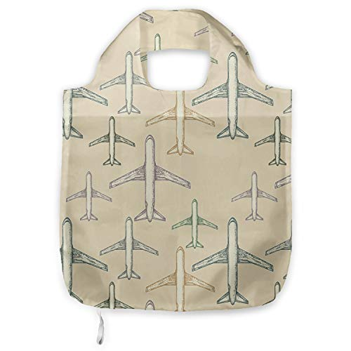 ABAKUHAUS Vintage Vliegtuig Herbruikbare Stoffen Boodschappentas, straallijnvliegtuigen, Bedrukt, Praktisch en Eenvoudig, Veelkleurig