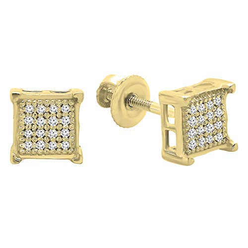 Dazzlingrock Collection 0.10 Carat (ctw) Round Diamond Square Shape Mens Stud Earrings 1/10 CT, 18K Yellow Gold Plated Sterling Silver