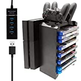 TFSeven PS4/PS4 Slim/PS4 Pro Multifunctional Detachable Playstation Dualshock 4 Gamepad Joystick Console Vertical Stand & CD Game Disk Storage Holder Tower with Dual Controller Fast Charger