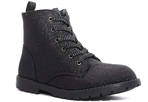 Charles Albert Girl's Glitter Boot Lace Up Low Heel Winter Shoes Toddler/Little Kids (3 M US Little Kid, Black)