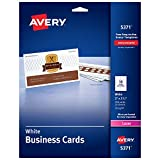 AVERY  2' x 3.5' Business Cards, Sure Feed Technology, for Laser Printers, 250 Cards (5371), White (05371)