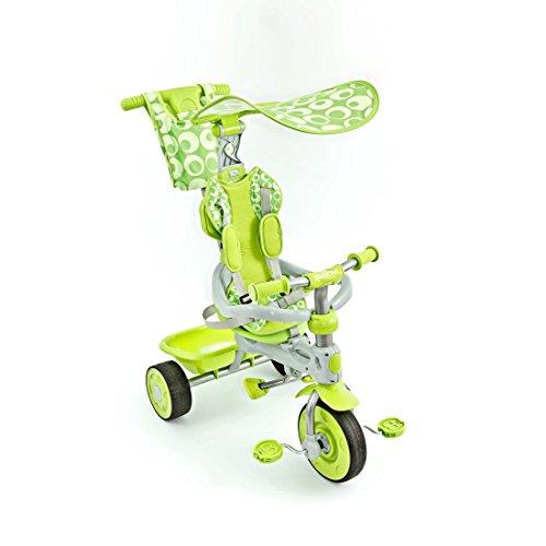 Dreirad Lenk- u. Schubstange Dach 5-Punkt-Gurt 3in1 Kinderdreirad Kinderrad Sunny, Farbe:Grün