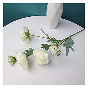 Silk Flower Arrangements YSQSPWS Artificial Flowers Artificial Peony Tea Rose Flowers Camellia Silk Fake Flower Decorate The Living Room (Color : White)