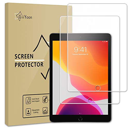 GiiYoon-2 PACK Screen Protector for Apple iPad 7 (10.2-Inch, 2019 Model, 7th Generation),Tempered Glass [HD Crystal Clear] [Easy Installation] [Scratch Resistant] [9H Hardness] Protection Film