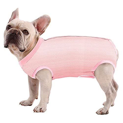 SAWMONG Recovery Suit for Dog, Dog Surgery Recovery Suit for Abdominal Wounds, Dog Onesie E-Collar Alternative After Surgery Wear Anti Licking Wounds Cool Fabric for Summer (X-Small, Pink)