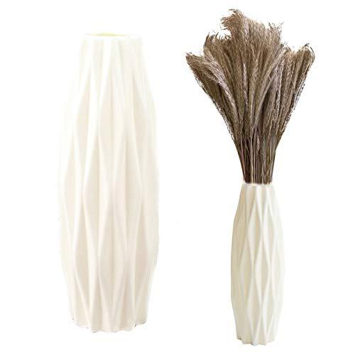 Kunststoff Vase Imitation Keramik Nordic Blumenvasen Dekorative Vase Groß Blumentopf Origami Handgefertigte Bruchsicher Für Innen Schlafzimmer Wohnzimmer Balkon Tischdeko Hochzeit(Plastik, Weiß)