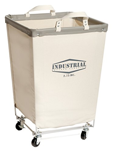 Seville Classics Commercial Heavy-Duty Canvas Laundry Hamper with Wheels, 18.1' D x 18.1' W x 27' H, Natural White